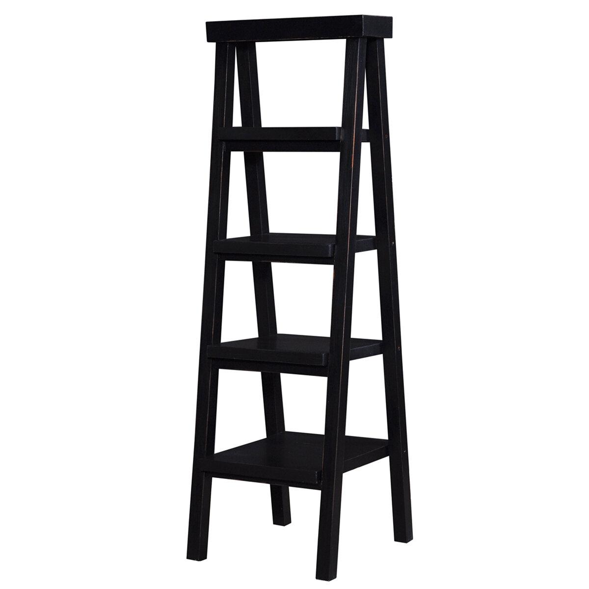 Samuel Black Heavy Distressed Ladder Shelf (DISPLAY ONLY)