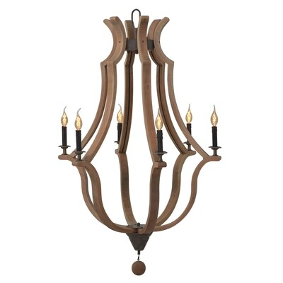 Bordeaux Driftwood 6 Lt Chandelier (DISPLAY ONLY)