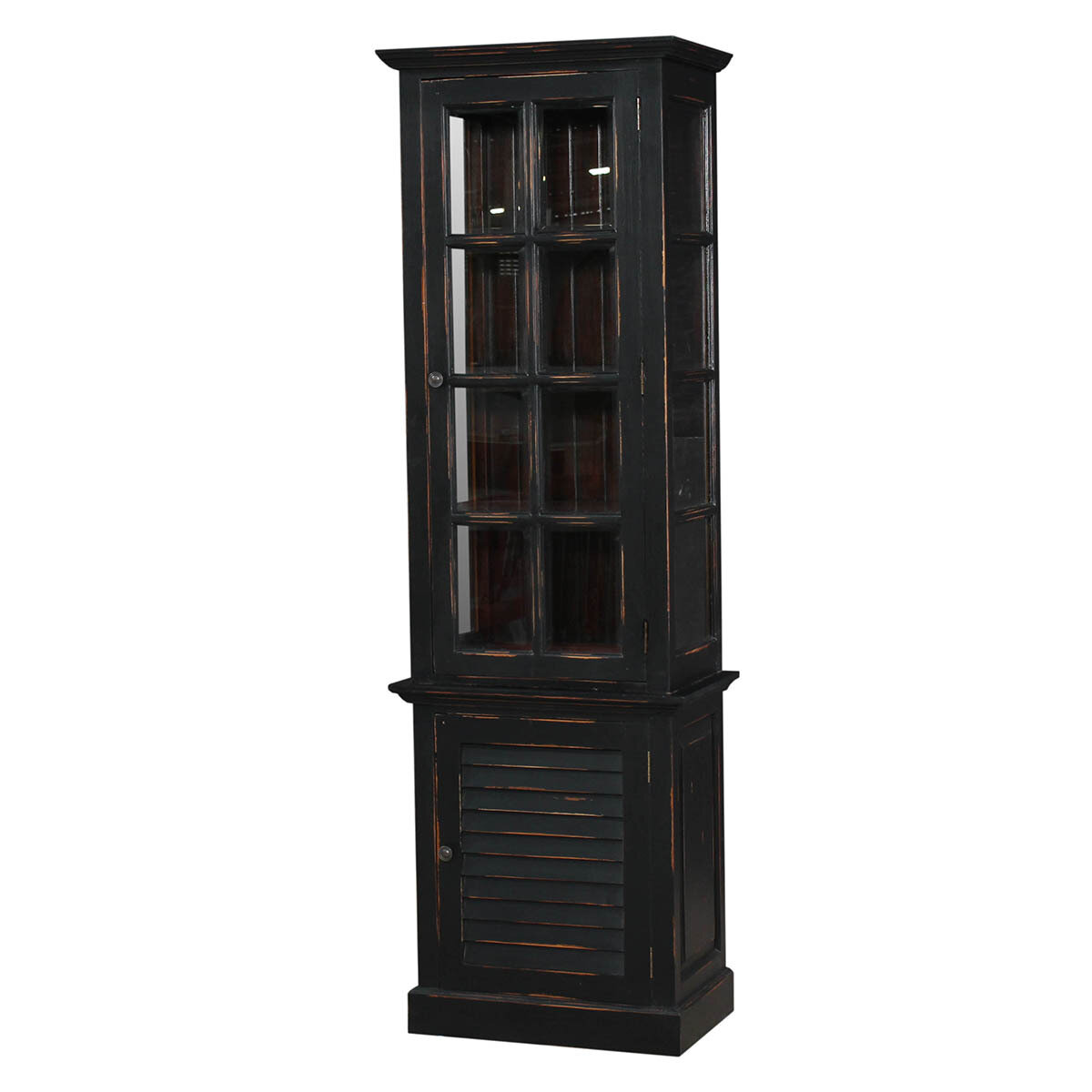 Cottage Black Harvest Tall Cabinet w/Glass