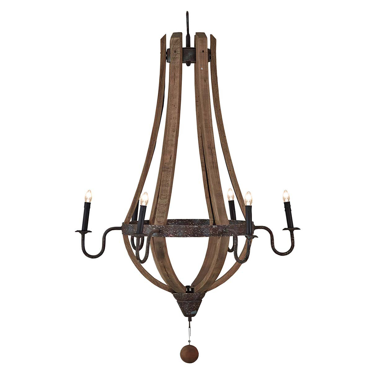 Chateau Driftwood Medium 6 Lt Chandelier