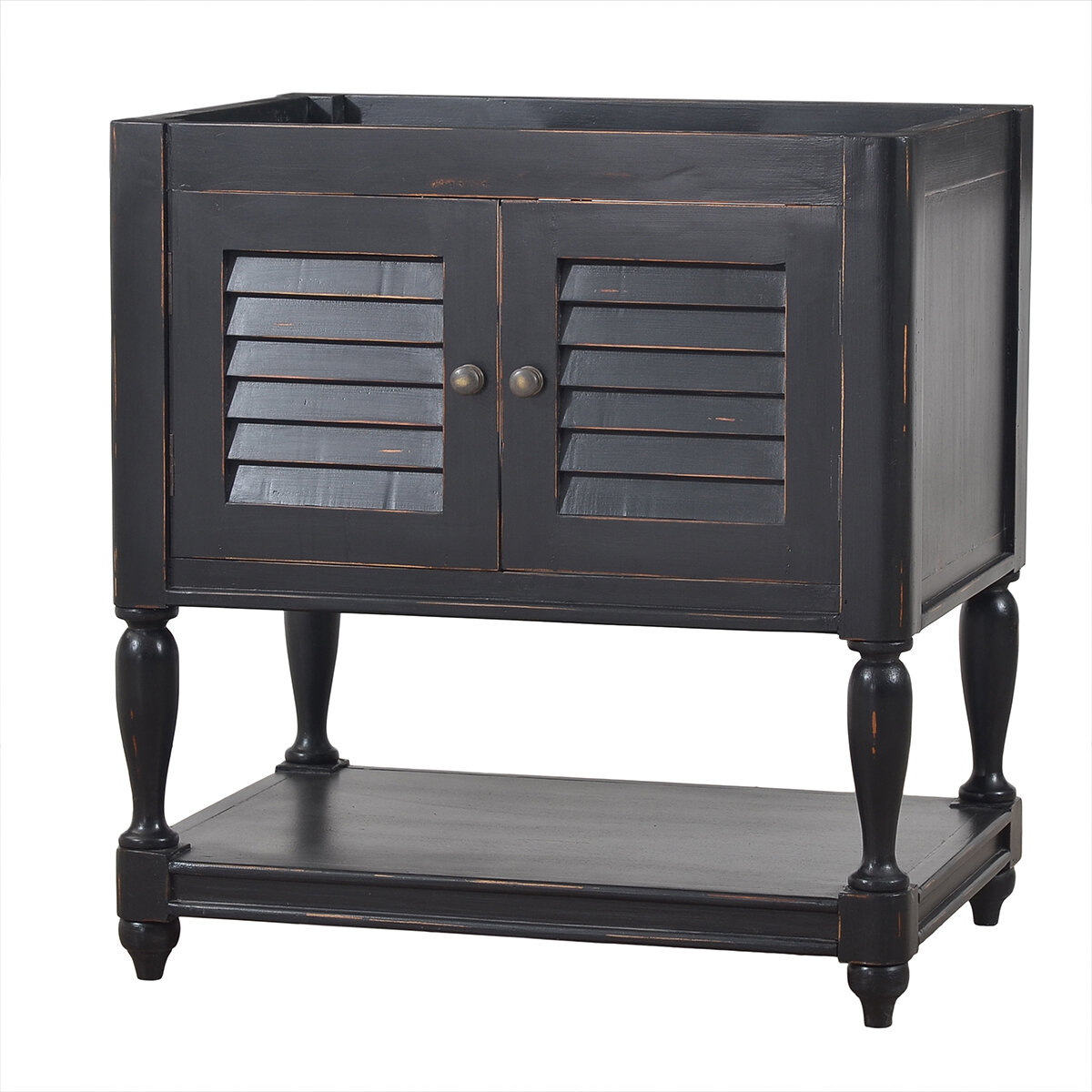 Cottage Black Distressed Guest Vanity w/out Top
