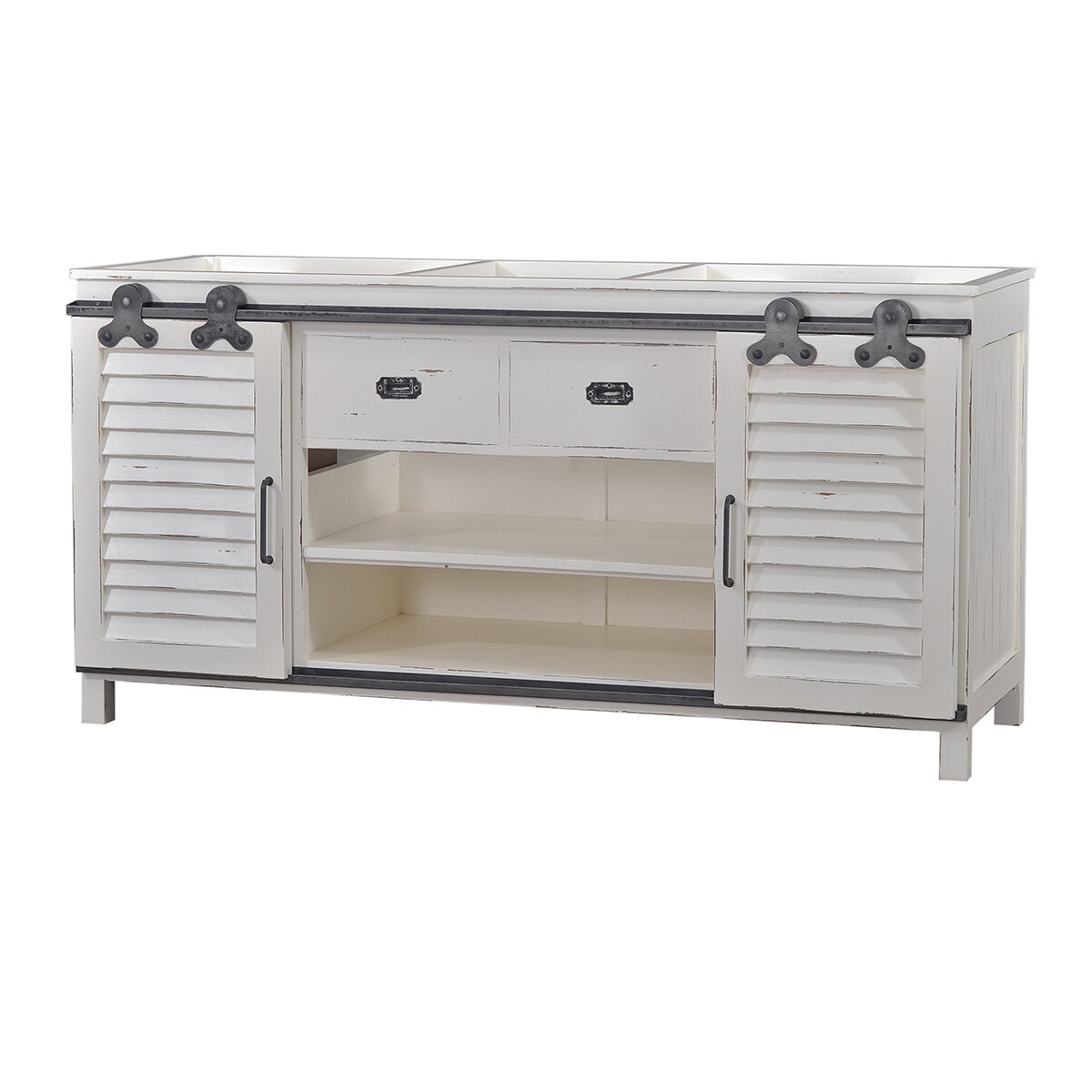 Sonoma White Distressed Shutter Double Vanity