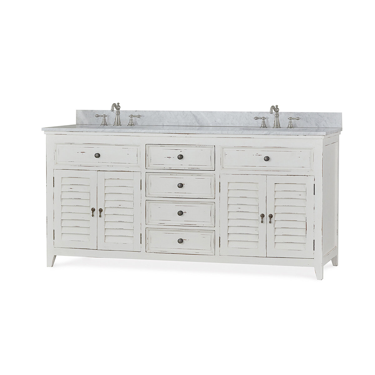 Sonoma White Distressed Shutter Double Vanity w/Marble Top & Sink