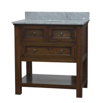 Aries Teak Brown Single Vanity w/Italian Marble Top (DISPLAY ONLY)