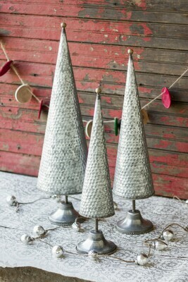 Zinc Set Of 3 Topiaries
