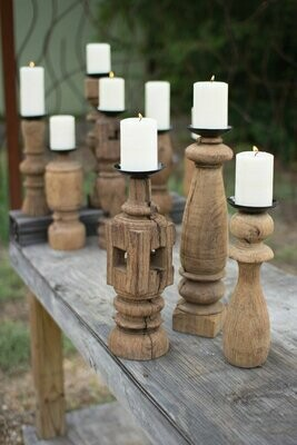 Reclaim Wood Furn Leg Set of 3 Candle Holders