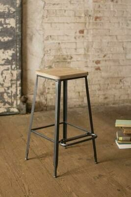 Metal Bar Stool w/Square Wood Seat