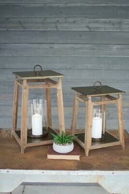 Set Of 2 Metal And Wood Set Of 2 Lanterns