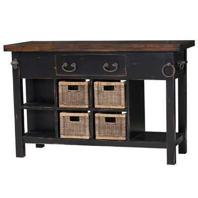 Umbria Heavey Distressed Black Small Kitchen Island