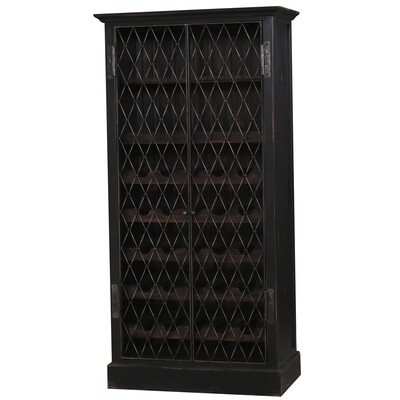 Sonoma Heavy Distressed Black Wine Cabinet w/Iron Mesh Door