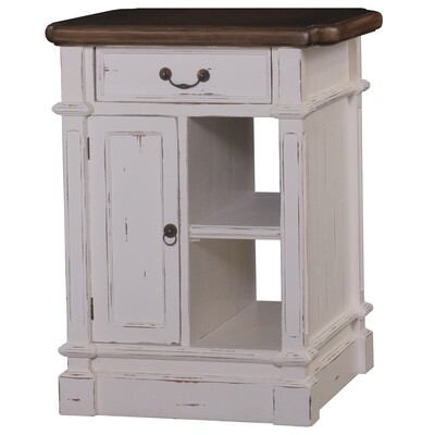 Roosevelt White Distressed Kitchen Island w/Casters