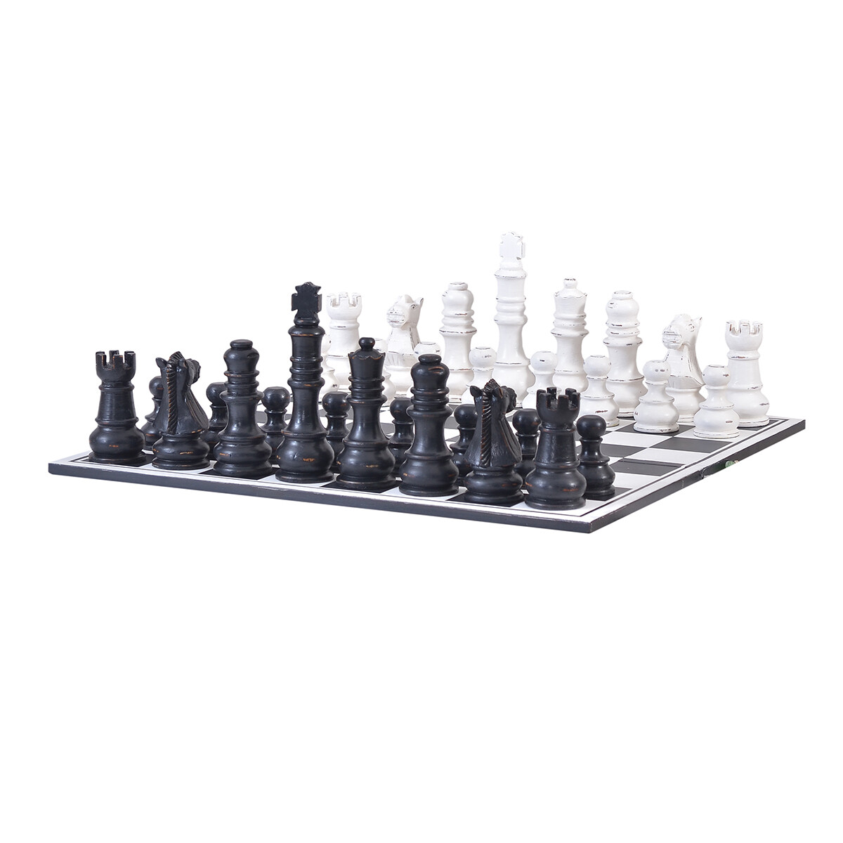 Heavy Distressed Black & White Gentlemens Club Chess Set