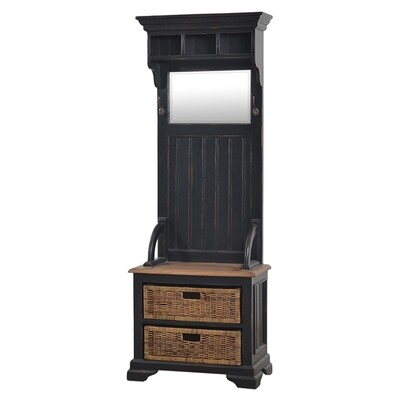 Homestead Black Distressed/Driftwood Hallstand w/Rattan Baskets