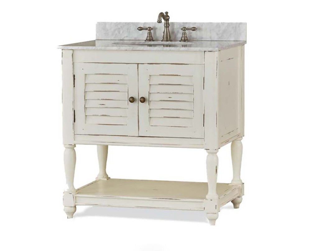 Cottage Pearl White Crackle Antique Distressed Guest Vanity