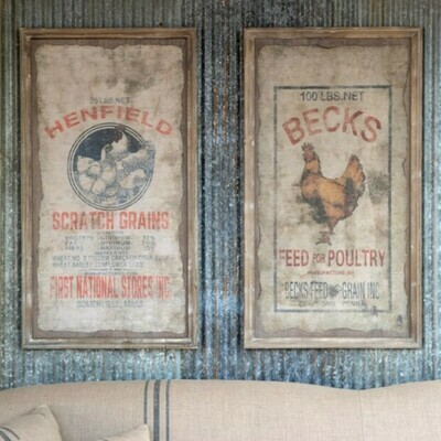 Framed Feed Sack Set Of 2 Print - Sunrise Acres