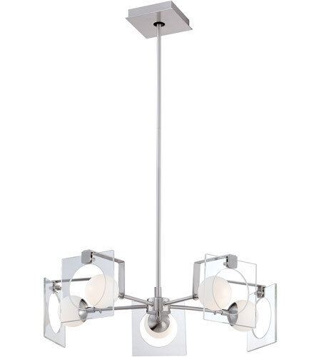 Hole In One Brushd Nickel 5Lt Chandelier