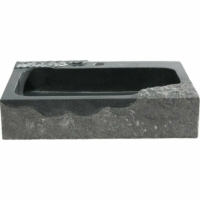 Jaki Rectangle Black Stone Glass Vessel Sink