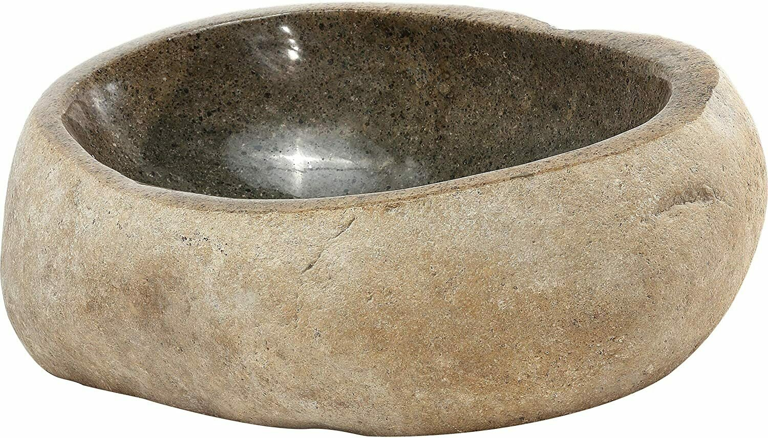 Lucki Stainless Steel Natural River Stone Glass Vessel Sink