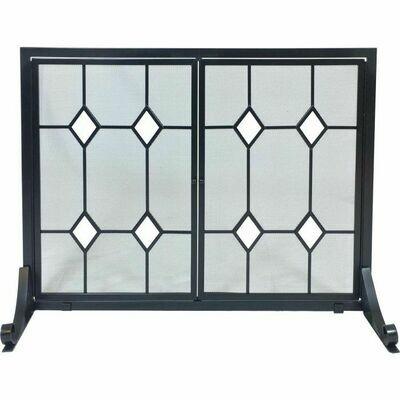 Black Wrought Iron Panel Screen