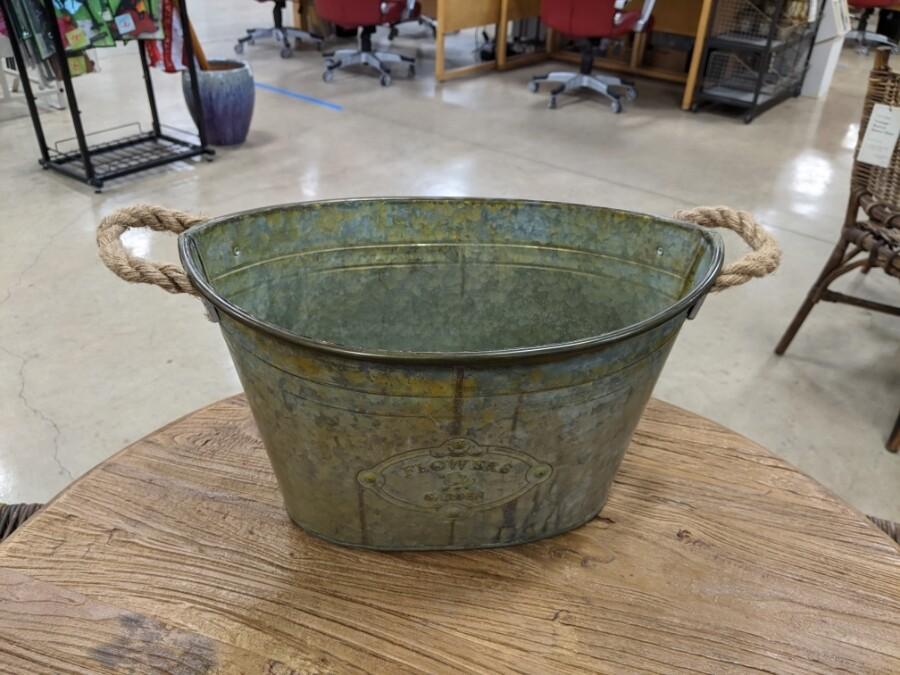 Large Metal Bucket Planter (DISPLAY ONLY)