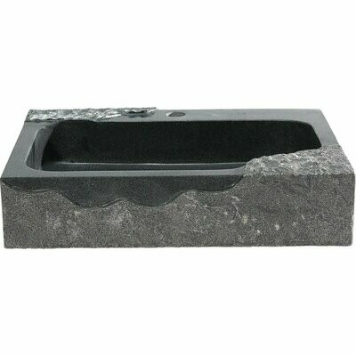 Jaki Rectangle Black Stone Glass Vessel Sink (DISPLAY ONLY)