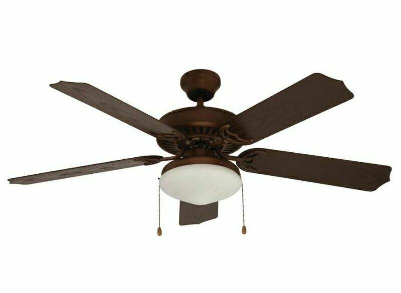 Oil Rubbed Bronze Outdoor Fan w/Blades & Light Kit