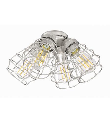 Brush Nickel LED 4 Arm Lightt Kit w/Cage Shade