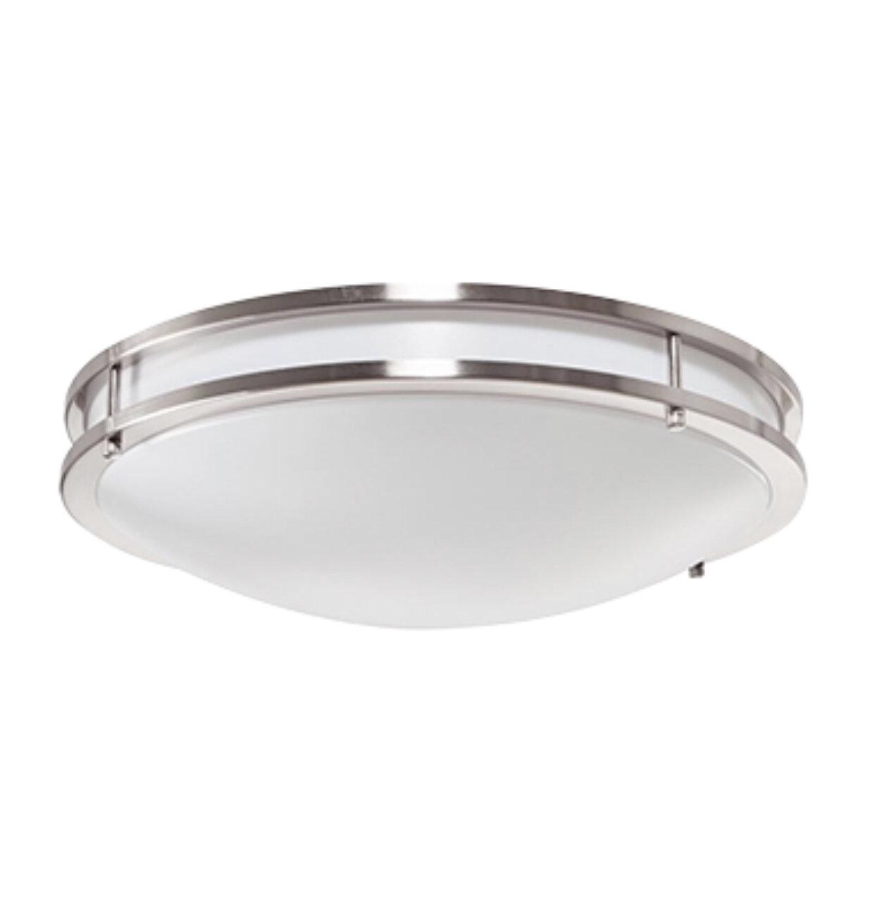 13W LED Satin Nickel Ringed Ceiling Light