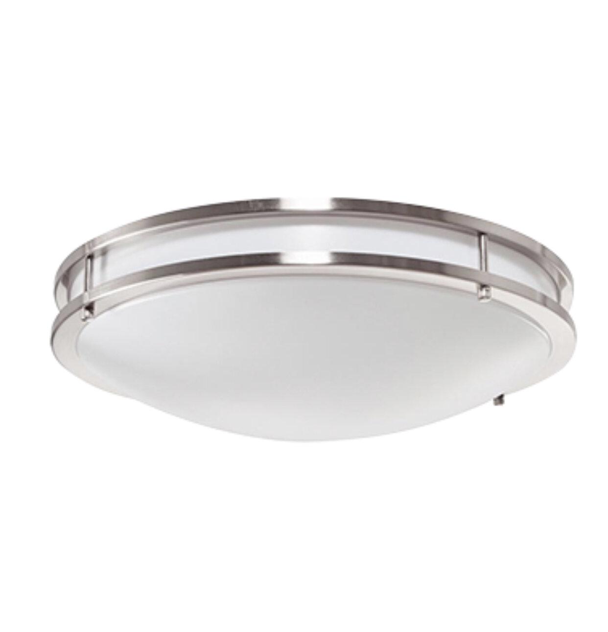 17W LED Satin Nickel Ringed Ceiling Light