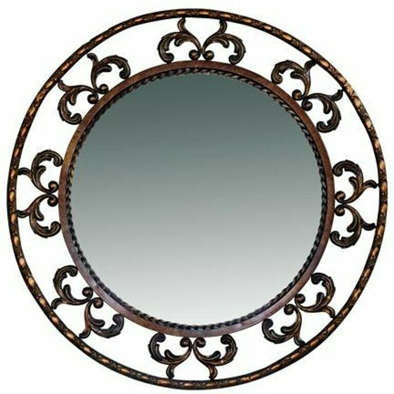 Gold/Black Round Iron Mirror