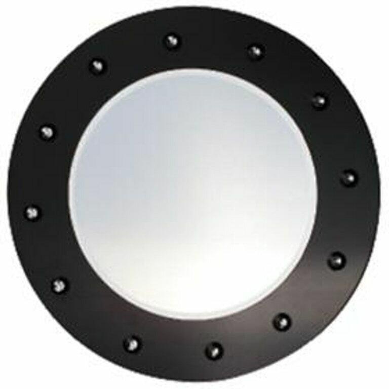 Black Round Framed Mirror