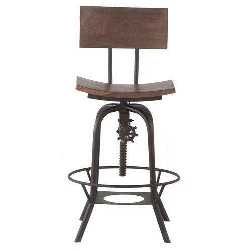 Solid Wood Seat Bar Stool w/Metal Legs