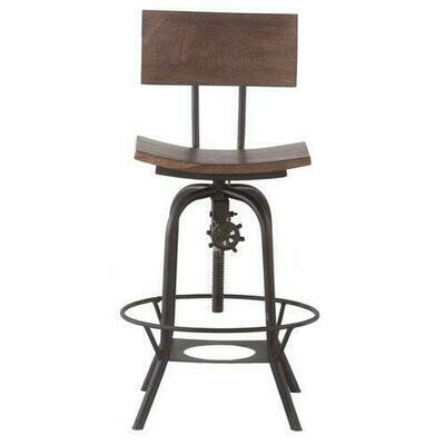 Solid Wood Seat Bar Stool w/Metal Legs