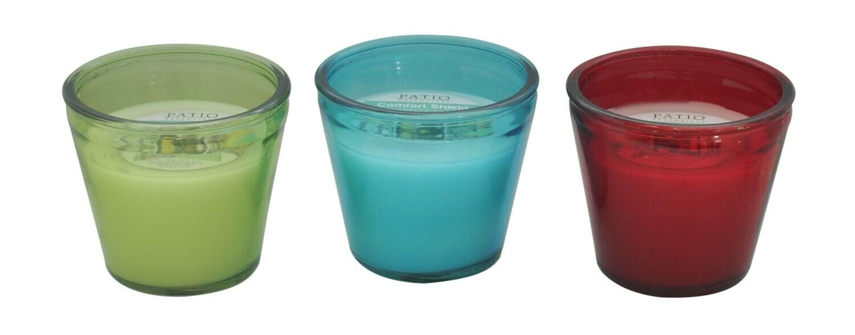 17 OZ Glass Flower Pot Citronella Candle