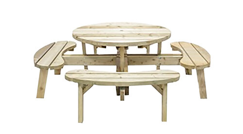 Ambrosia Natural Round Picnic Table Set