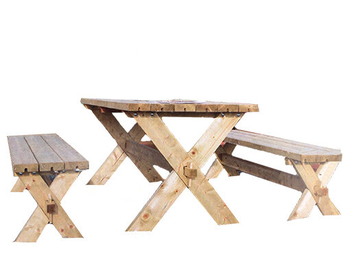 Rustic Natural Table w/Bench