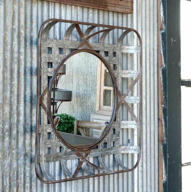 Woven Metal Tobacco Basket Mirror