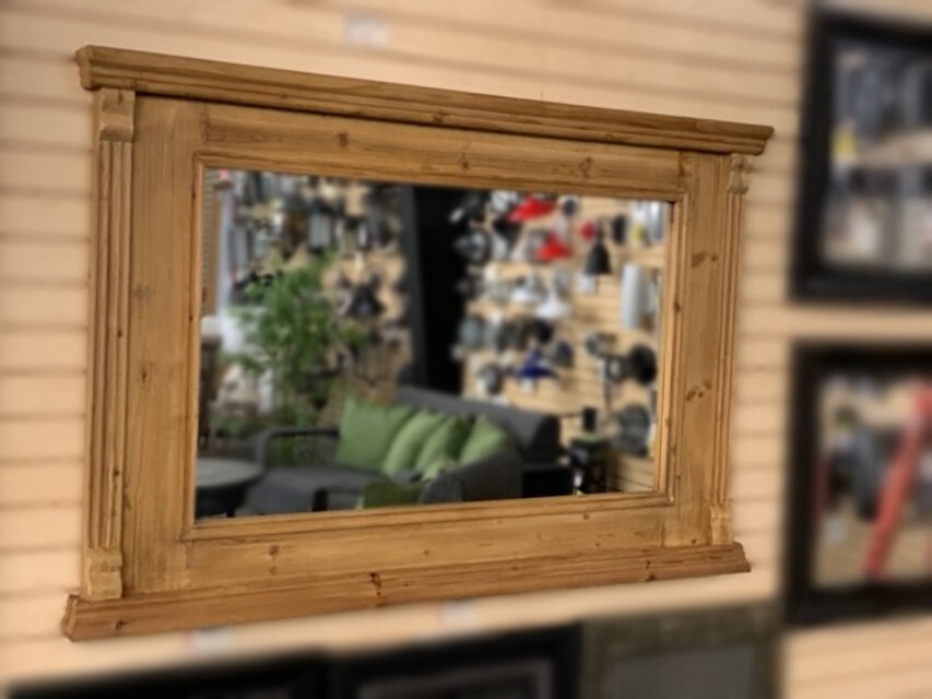 Aged Wood Framed Bistro Mirror