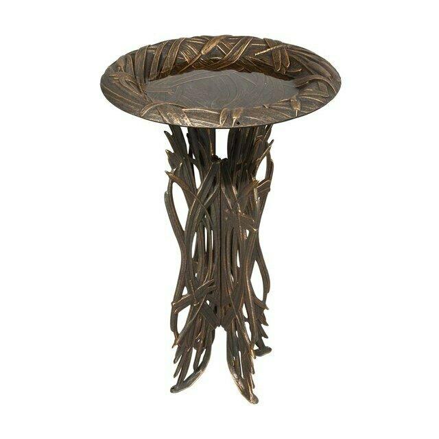 Oil Rub Bronze Dragonfly Birdbath & Pedestal