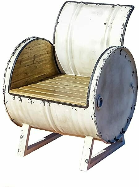 Rustic White Wood/Metal Large Drum Chair