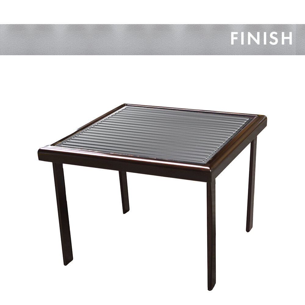 Silver Peel Frame/Industrial Stripe Square Side Table