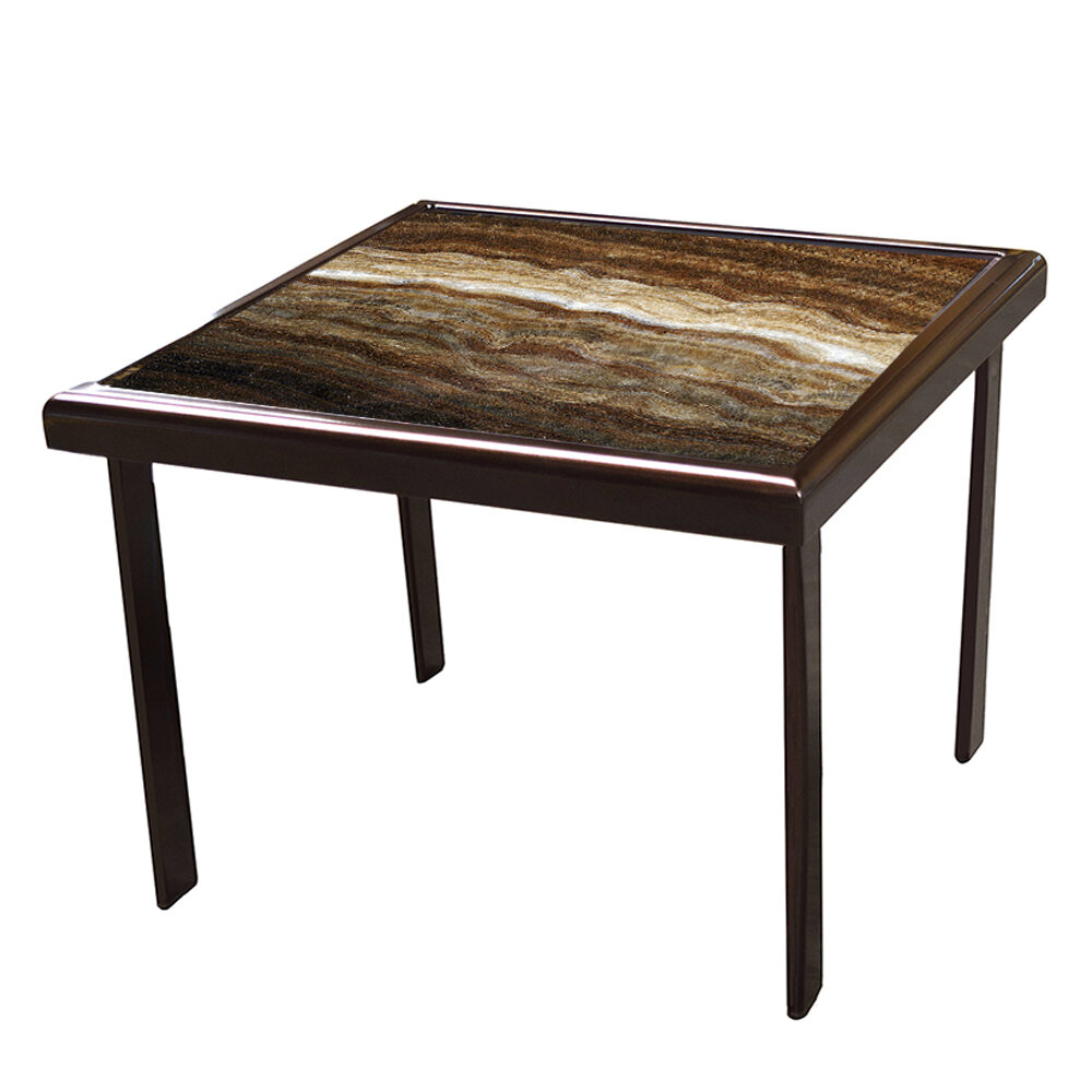 Textured Quartz Frame/Onyx Masterpiece Top Round Side Table