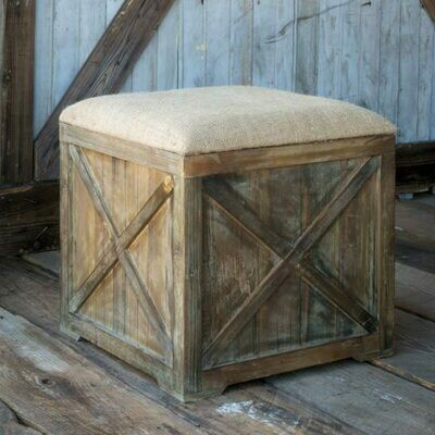 Aged Wood Square Burlap Box Seat