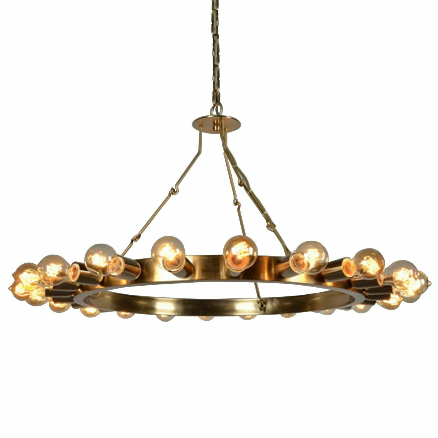 Brass Wagon Wheel 22 Lt Chandelier