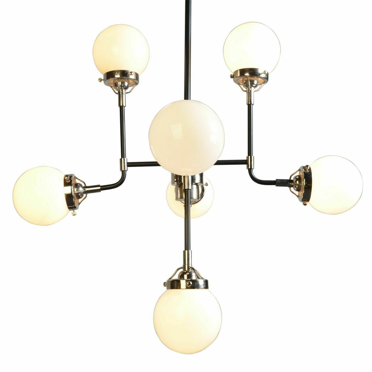 Iron Frame 8 Lt Chandelier w/White Glass (DISPLAY ONLY)