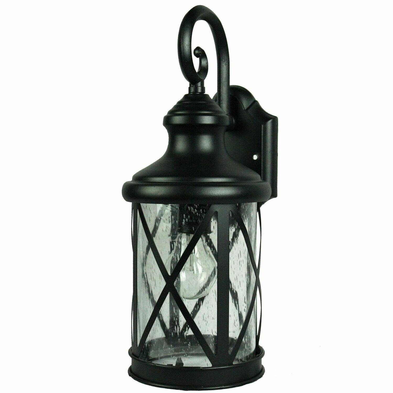 Ellie Black X Large 1 Lt Wall Lantern w/Glass Shade