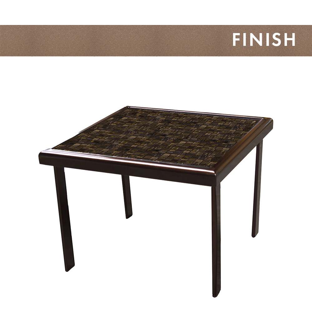 Sable Frame/Dark Mosiac Top Square Side Table