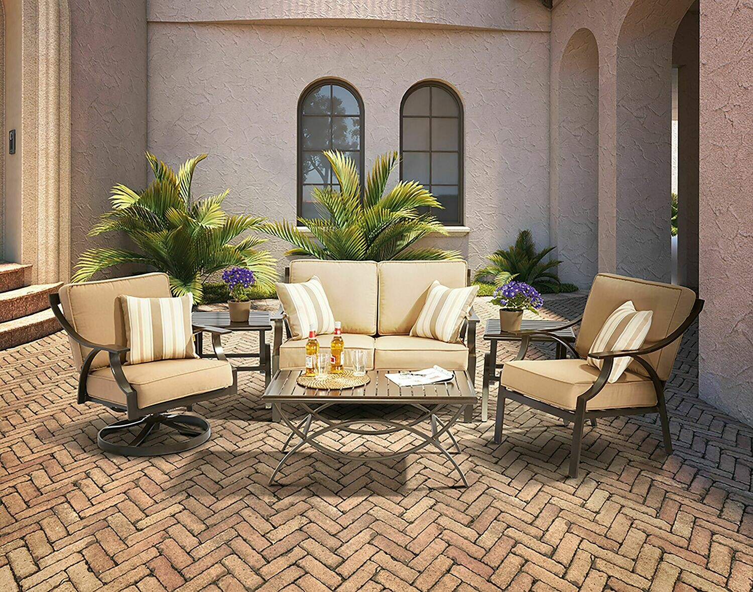 Merge Chestnut Brown 6 PC Set  (SOLD AS SET)  SET INCLUDES: (1-880078) COFFEE TABLE, (2-880079) END TABLES, (2-880102) LOUNGE CHAIRS & (1-880103) LOVESEAT  FABRIC: DUPIONE WALNUT