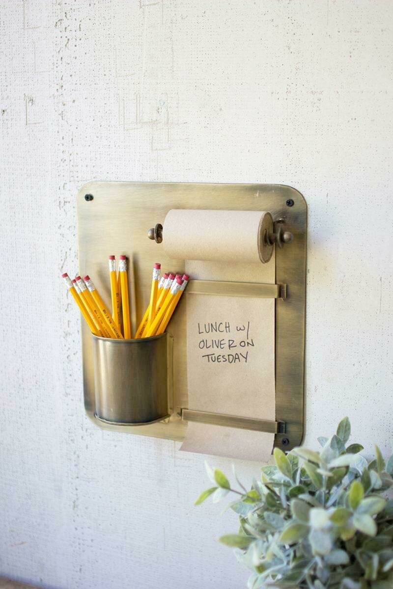Note Roll Wall Rack w/Pencil Holder