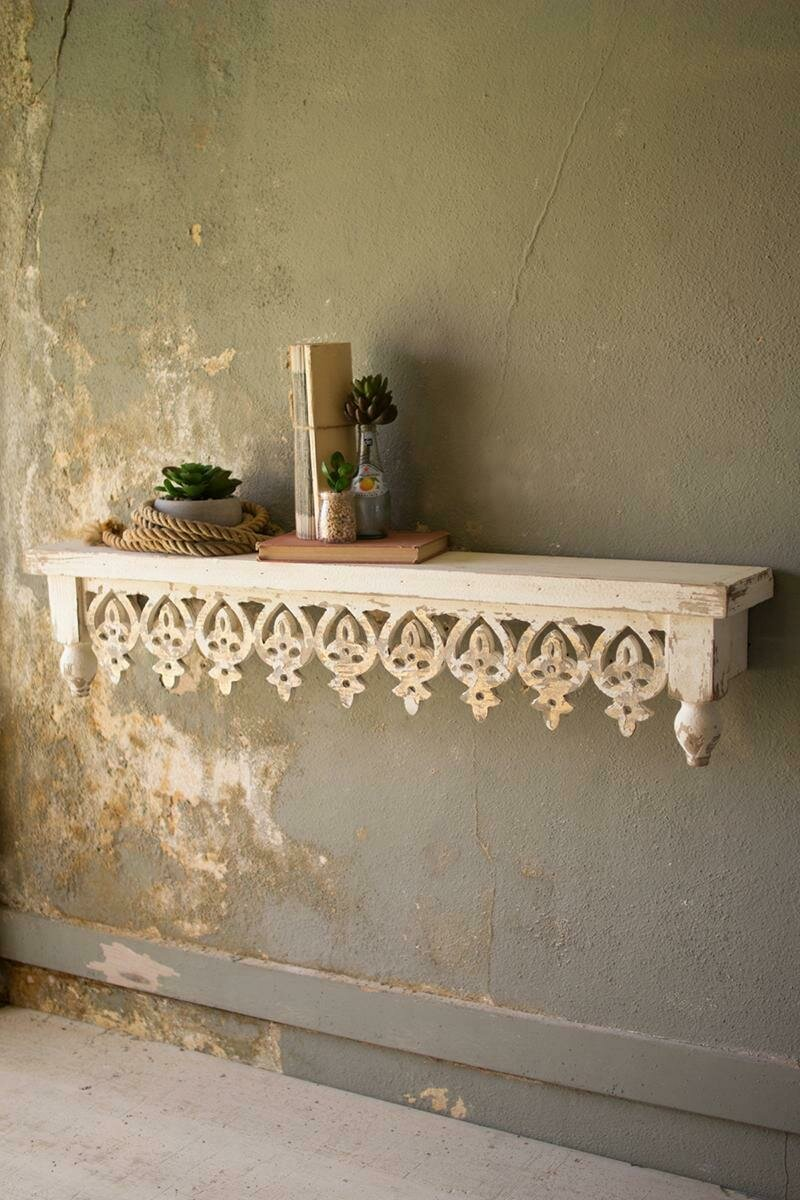 Hand Carved Wooden Shelf